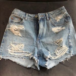 TopShop Moto Mom Distressed Jean Shorts